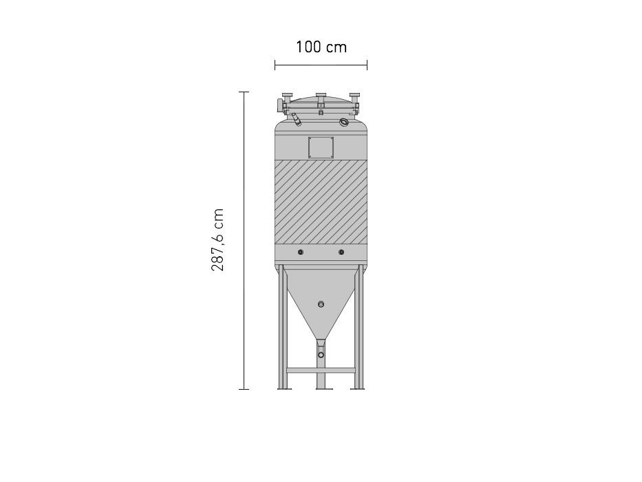 Edelstahl-Drucktank 1.2B ZKG 1200 Liter
