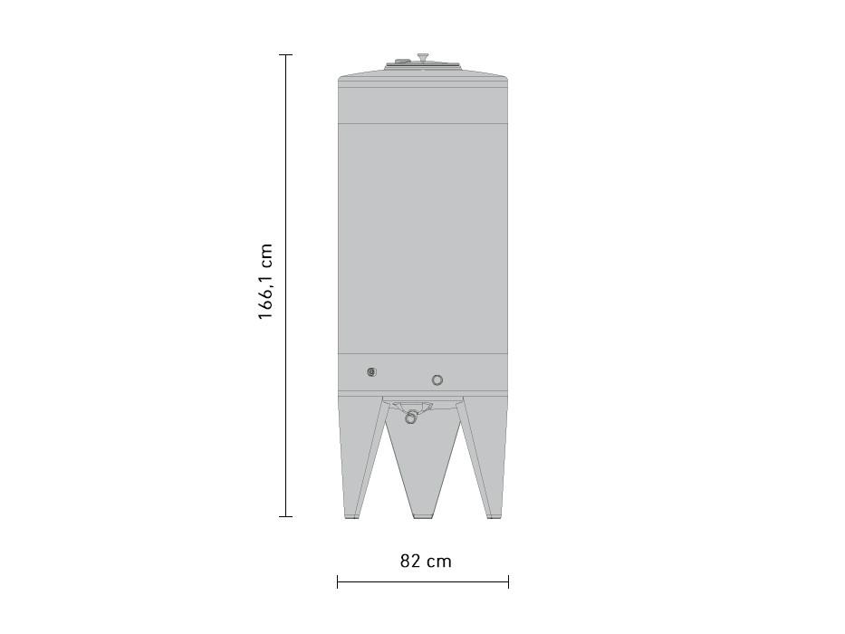 625-litre stainless steel fermentation tank