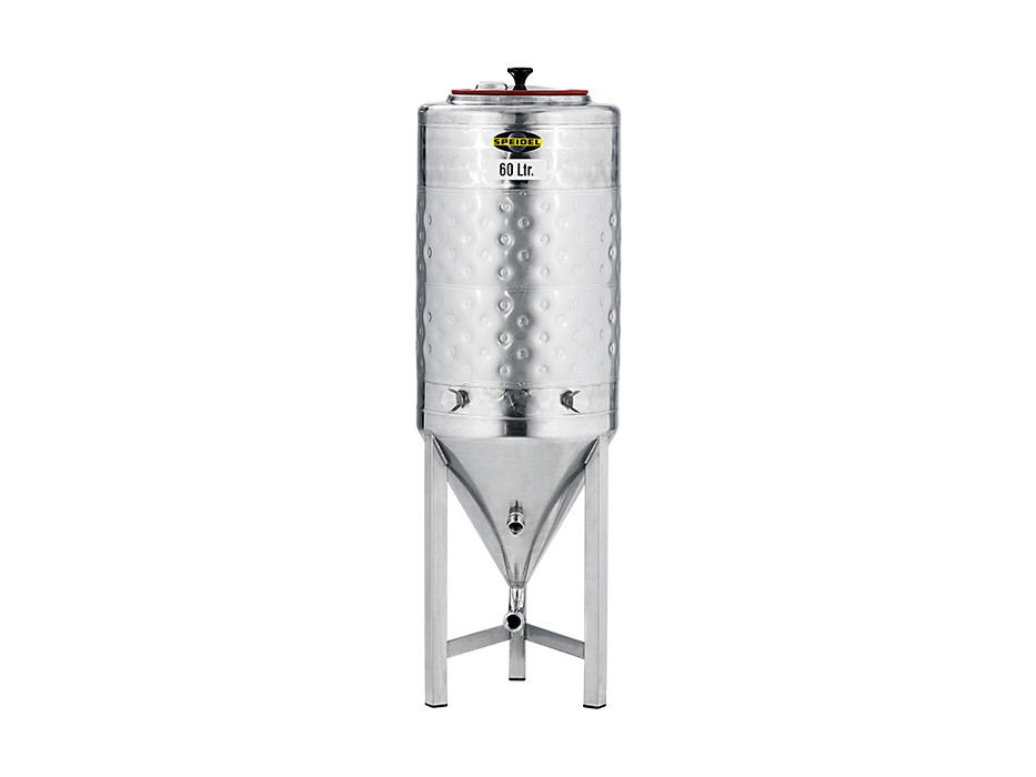 small conical stainless steel fermentation tank